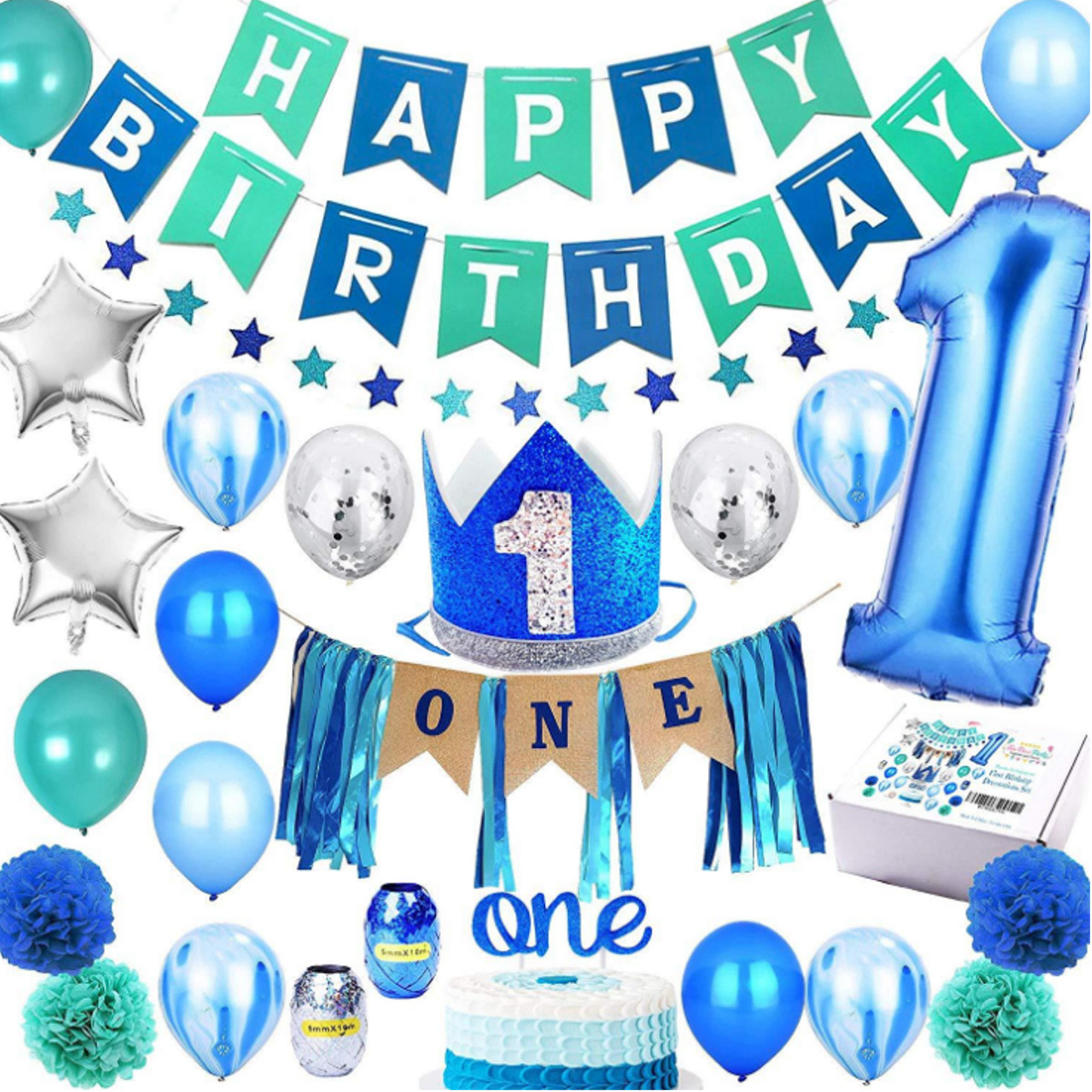1x 9 Today Happy Birthday Foil Party Banner.