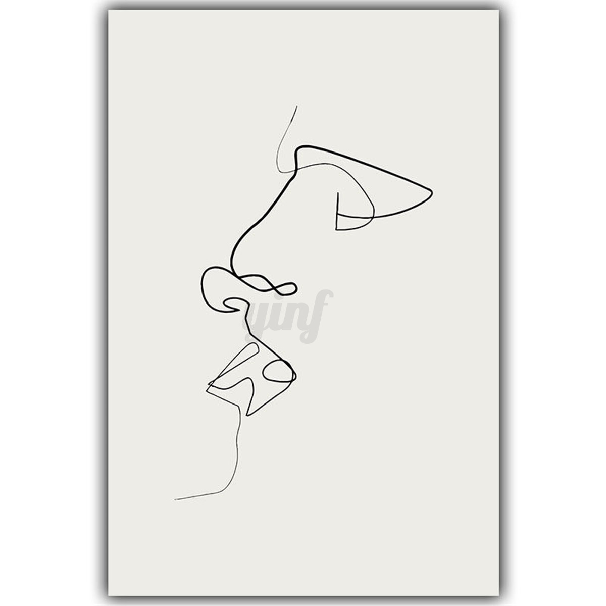 Simple Line Art Abstract : Abstract loving kiss canvas print painting simple line