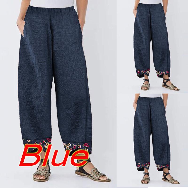 UK Women Ladies Plus Size Cotton Linen  Loose Trousers Freizeit Pocket Pants