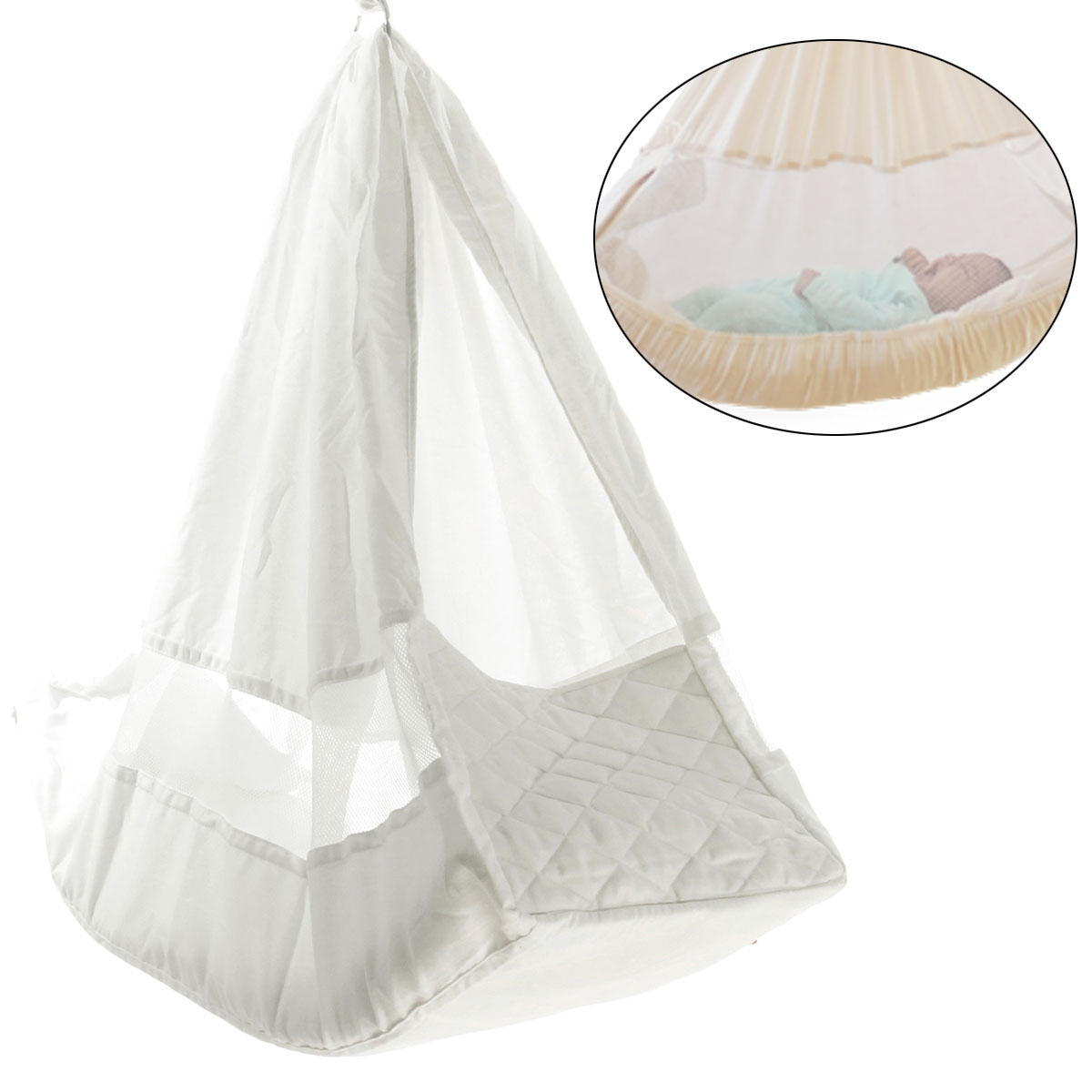 Poco Baby Infant Hammock White Cot Bassinet Cotton Mattress Bed Swinging Crib ❤