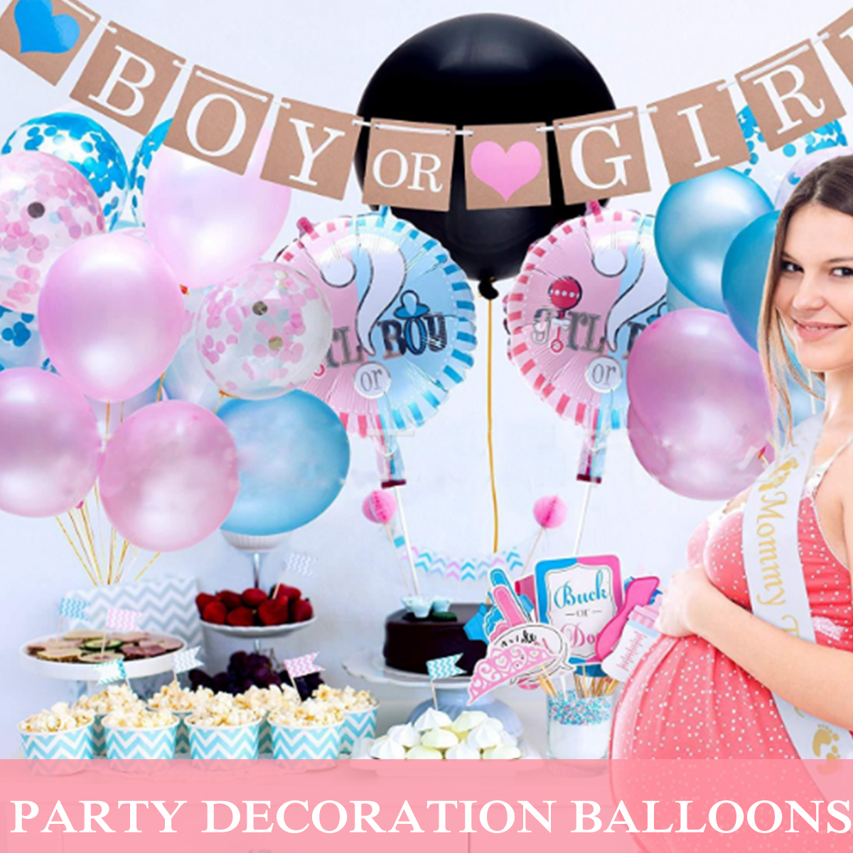 3Pc Round Baby Gender Reveal Balloon Boy or Girl Foil Helium Balloon Party Decor