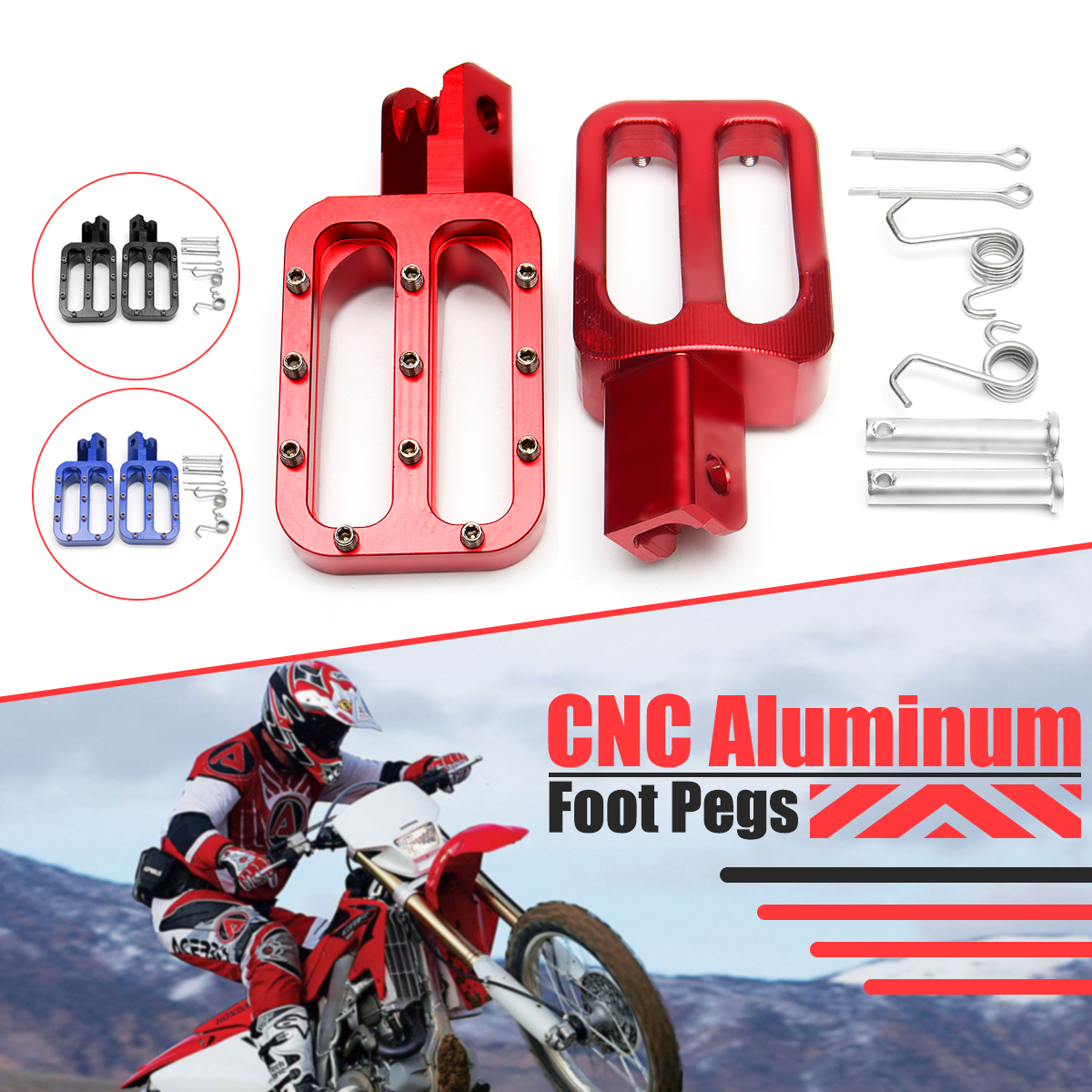 Pair Cnc Aluminum Foot Pegs For Crf Xr Klx Ttr Pw Ssr Pit Dirt Bike 2006 Honda 50cc Image Is Loading