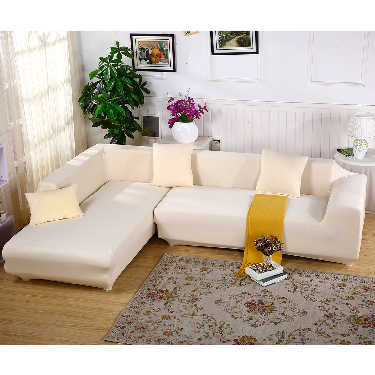 Covering A Sofa With Fabric: 1/2/3/4/5/6 Seater L Shape Stretch Elastic Fabric Sofa