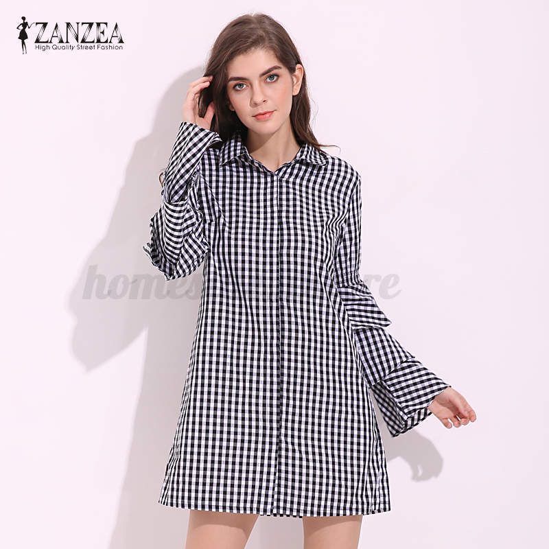 2017 Summer Women Bell Sleeve Plaid Checked Long Shirt Dress Party Loose Dress