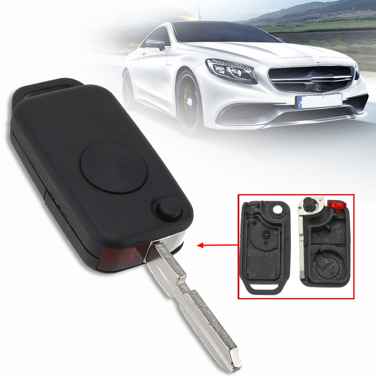 Flip Remote Key Shell fit for MERCEDES BENZ 3 Button Switchblade Fob ML S C
