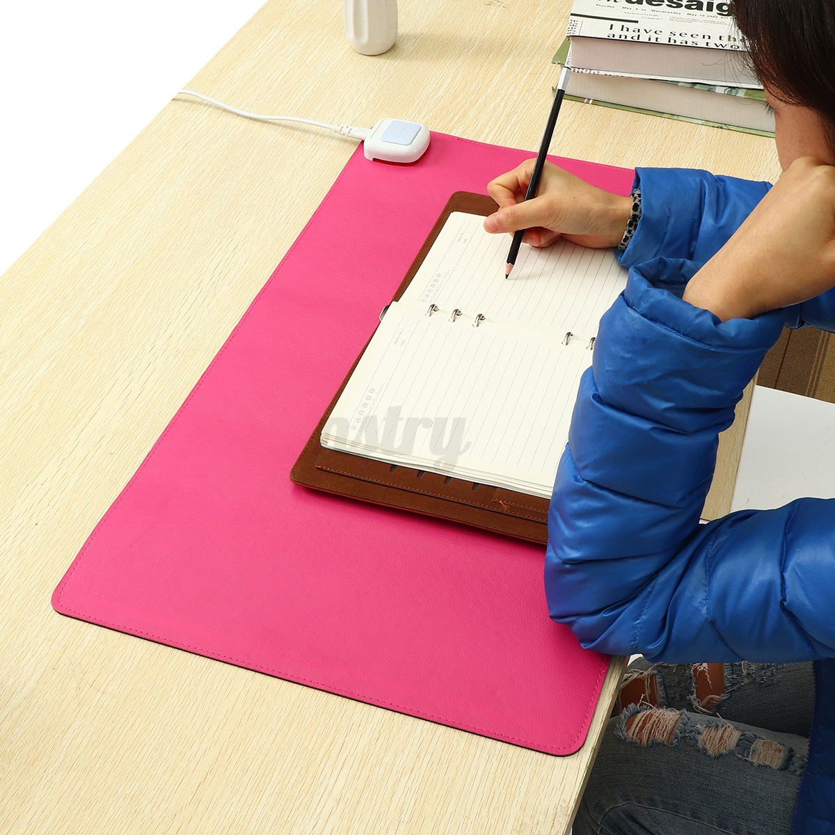 Electric Heating Mouse Pad Pu Leather Waterproof Office