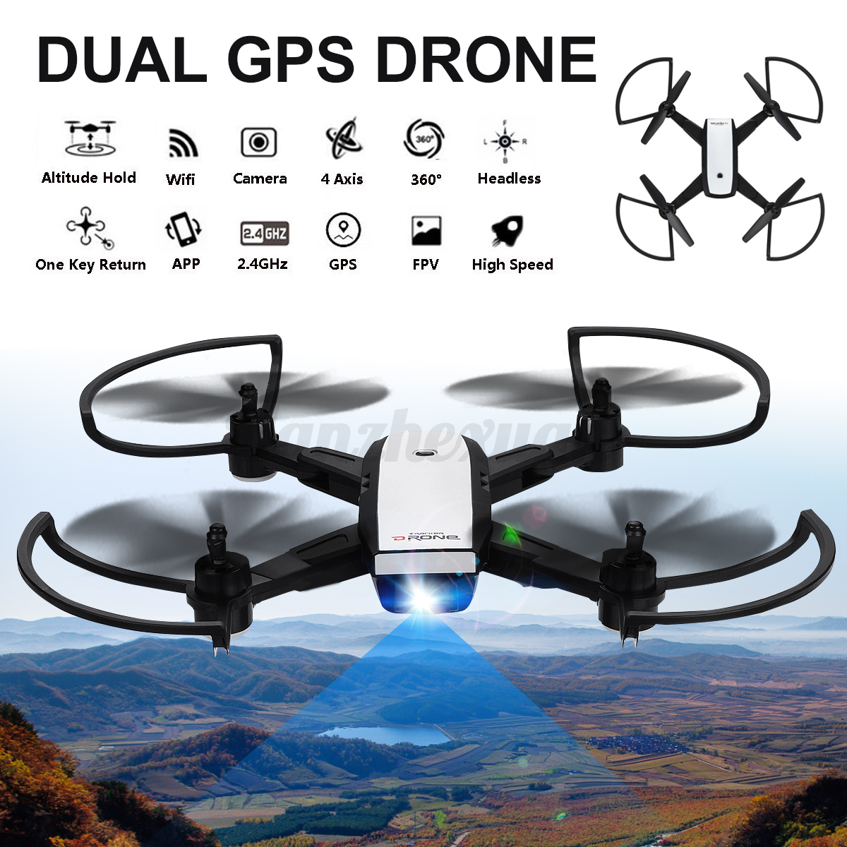 NEW Professional Foldable Dual GPS Wireless RC Drone 2.4GHz HD Camera Quadcopter