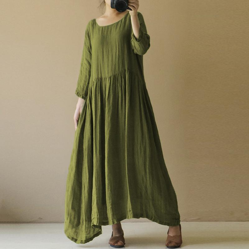 AU8-24-Women-Summer-Casual-Loose-100-Cotton-Long-Maxi-Dress-Party-Beach-Sundress