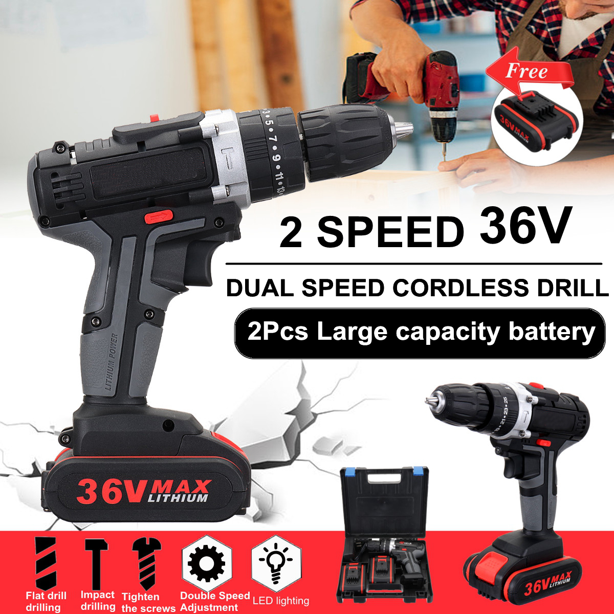 3//8/'/' 36V 25+3 Cordless Electric Impact Power Drill LED 2-Speed With Li-Ion US