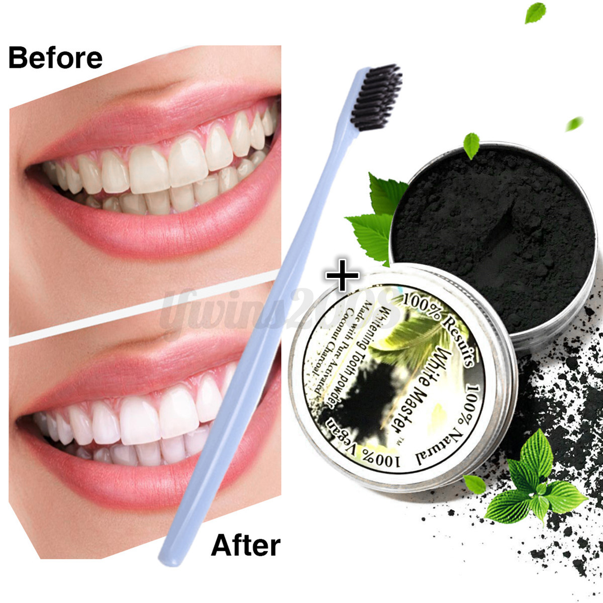 naturel blanchiment des dents poudre de bambou charbon actif brosse dentaire ebay. Black Bedroom Furniture Sets. Home Design Ideas