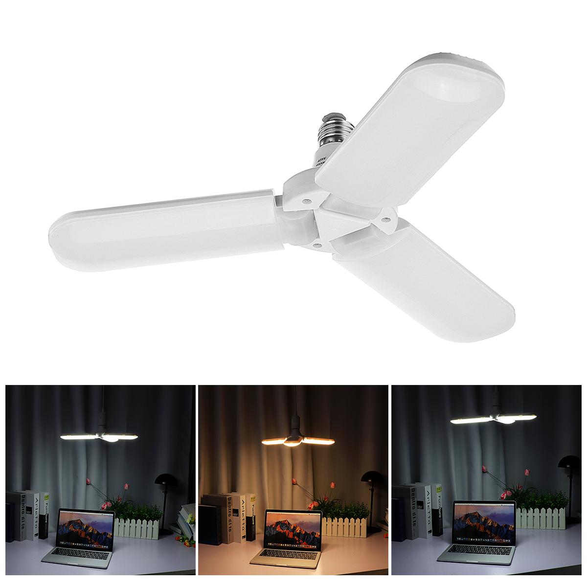 60W 95-265V 4 Blades Folding E27 Screw LED Bulb Home Pendant Lamp Decor Kits