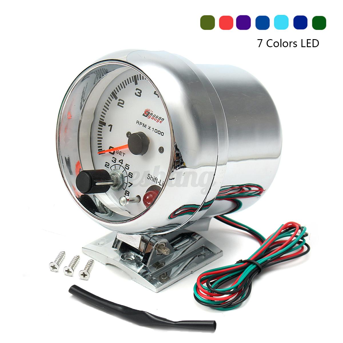 Universal-Tachometer-Tacho-Gauge-Meter-Range-0-8000-RPM-W-7-color-LED-Backlight