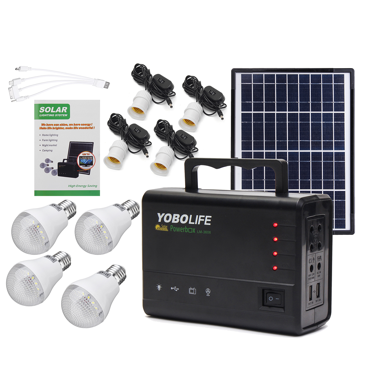 Portable Solar Panel Power Storage Generator LED Light USB Charger ...