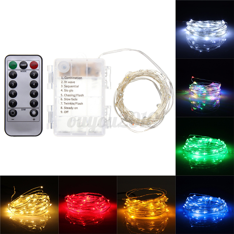 50/100 LED Battery Powered Copper Wire Fairy String Light Christmas ...
