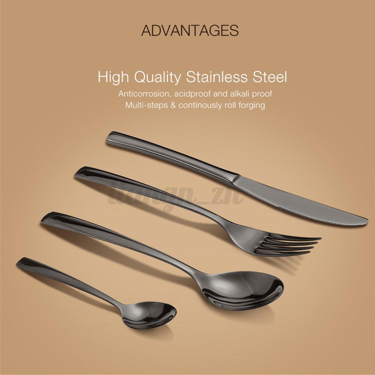 4pcs set couvert cuill re fourchette couteau en inox noir - Service de table noir ...
