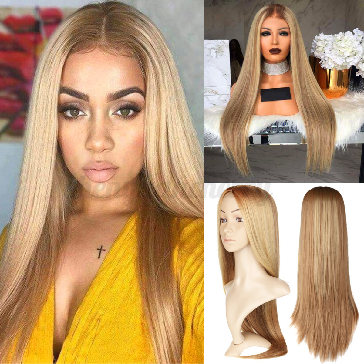Womens-Long-Wavy-Straight-Curly-Hair-Synthetic-Cosplay-Full-Wig-Wigs-Party-70cm thumbnail 13