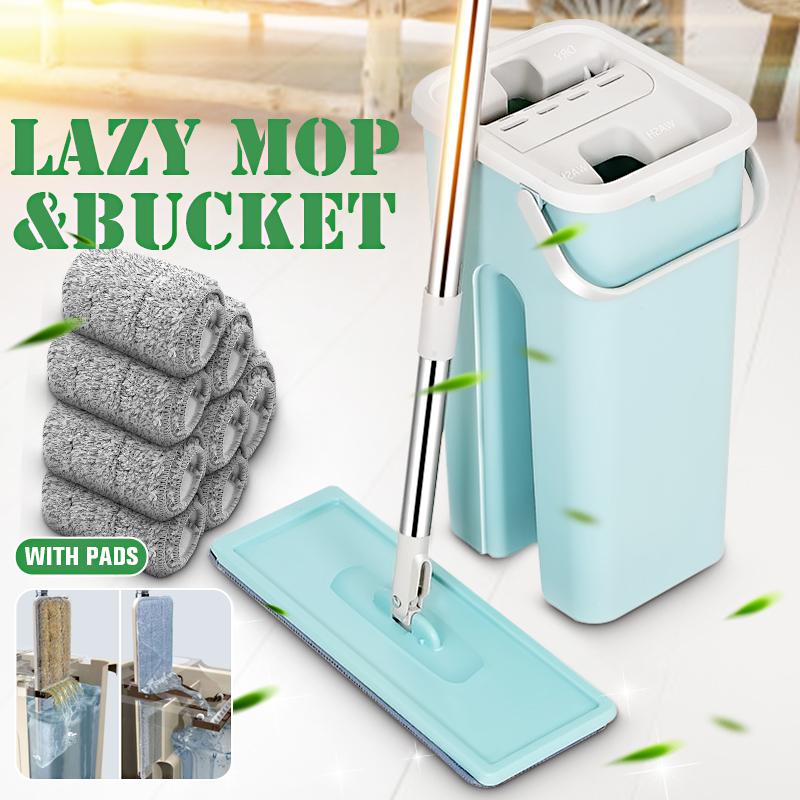 Squeeze Mop And Bucket Set Hand Free Flat Floor Self Cleaning Microfiber Mop Pad