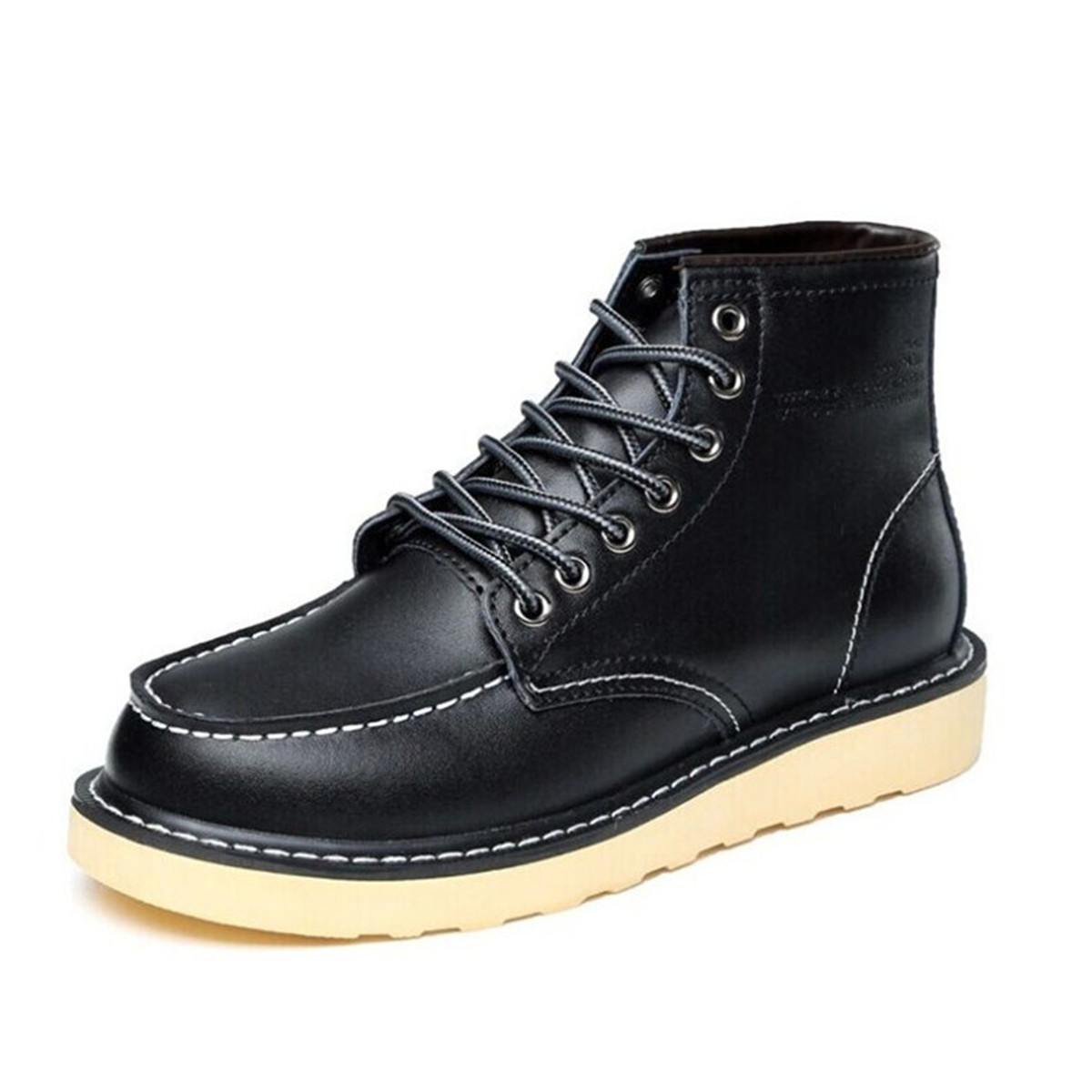Mens-High-Top-Wedge-Sole-Soft-Toe-Lace-up-Work-Military-Ankle-Boots-Shoes