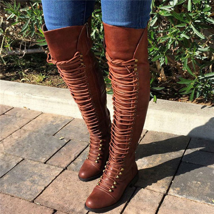 8d911f59dde43 Details about Women Over the Knee Boots Lace Up Bandage Thigh High Combat  Low Heel Flat 2