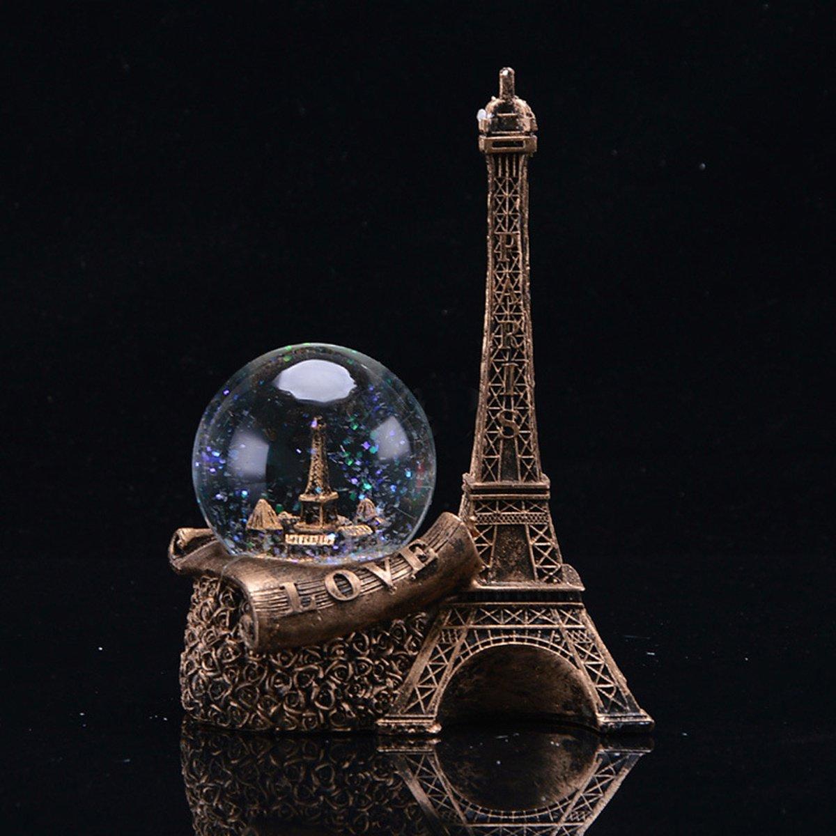 Vintage-Crystal-Ball-Paris-Eiffel-Tower-Model-Statue-Home-Desk-Decoration-Gift thumbnail 7