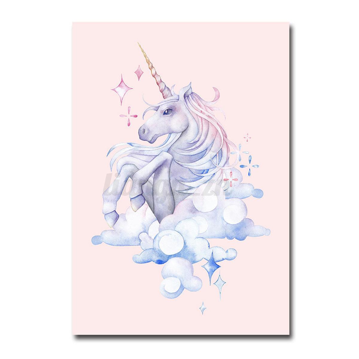 Licorne peinture poster l 39 aquarelle tableau sur toile for Recamaras de unicornio para ninas