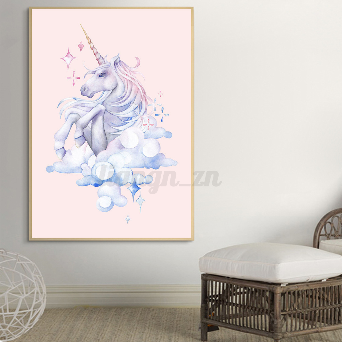 licorne peinture poster l 39 aquarelle tableau sur toile animal chambre enfant ebay. Black Bedroom Furniture Sets. Home Design Ideas