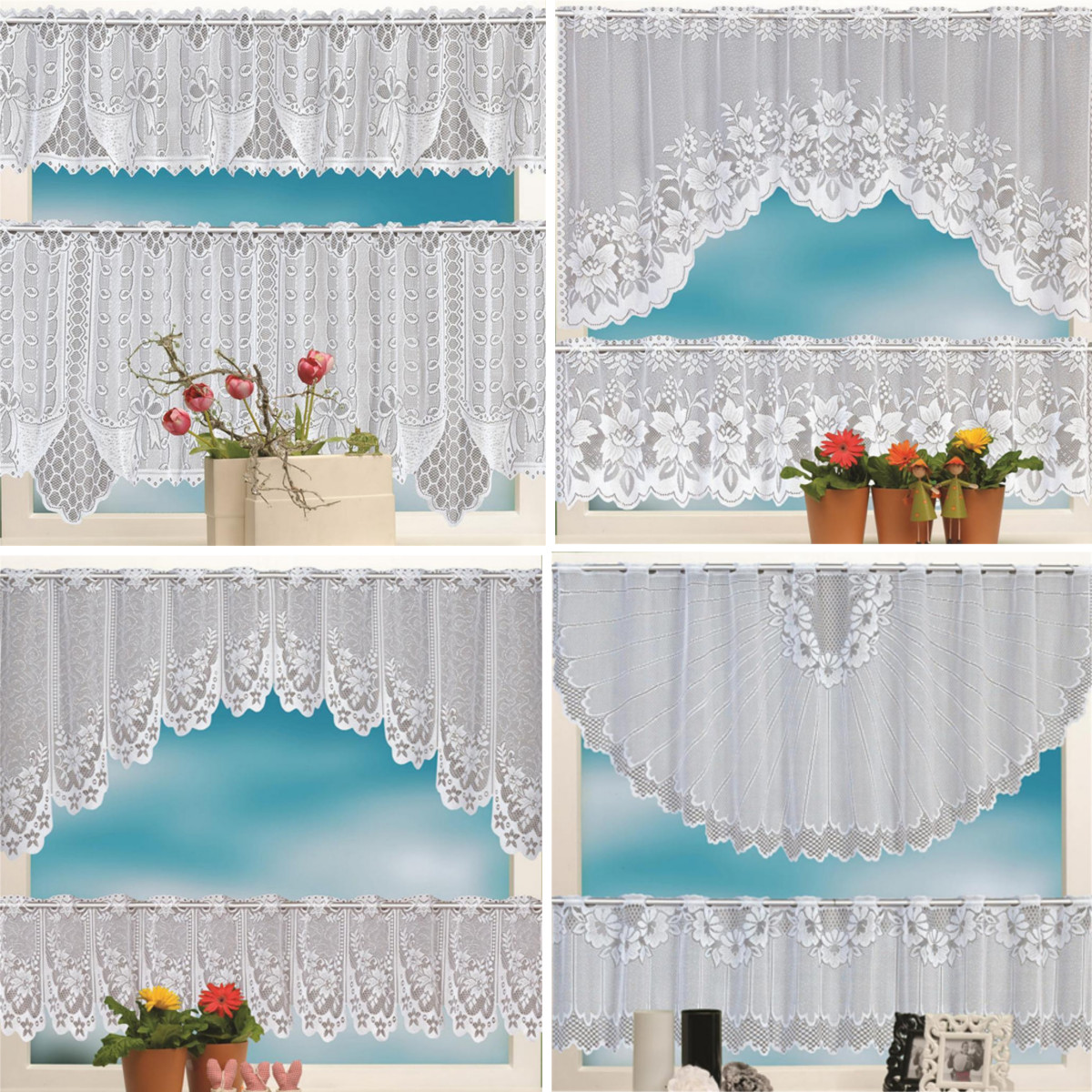 Details About 2PCS Lace Coffee Cafe Window Tier Curtain Kitchen Dining Room Home Decor Set