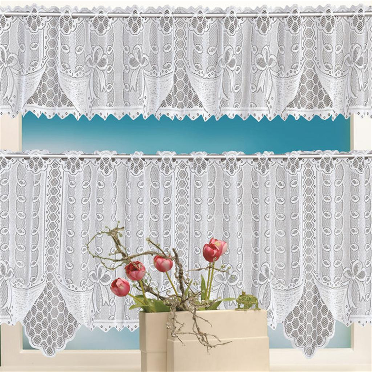 2pcs Lace Coffee Cafe Net Curtains Panel Tier Curtain Set Kitchen ...
