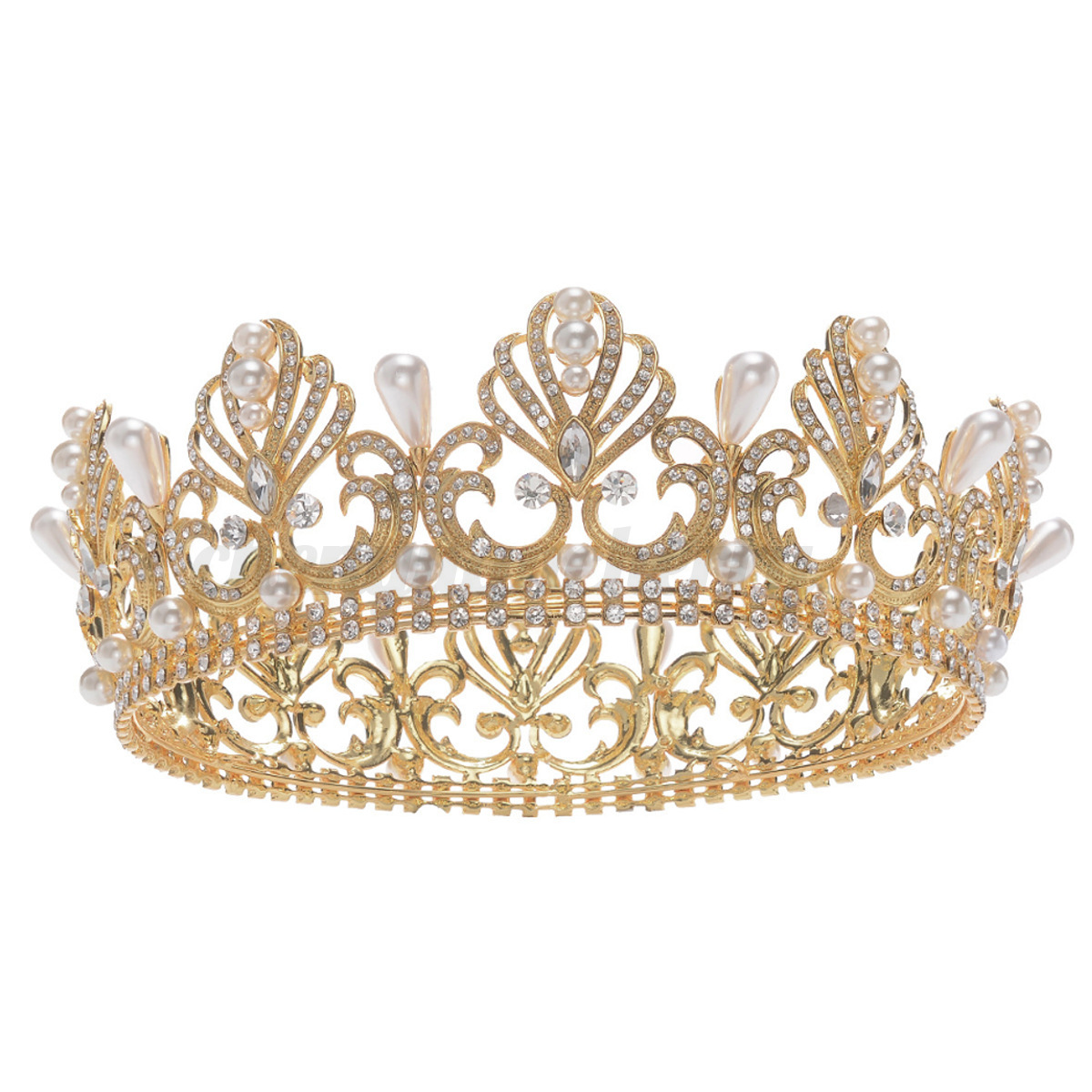 Wedding-Bridal-gold-plated-Crystal-Jewelry-Rhinestone-Pageant-Tiara-Crown-Party thumbnail 13