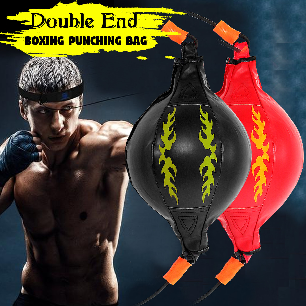 ARD Leather Double End Dodge Speed Ball MMA Boxing Punch Bag with Rubber Ropes