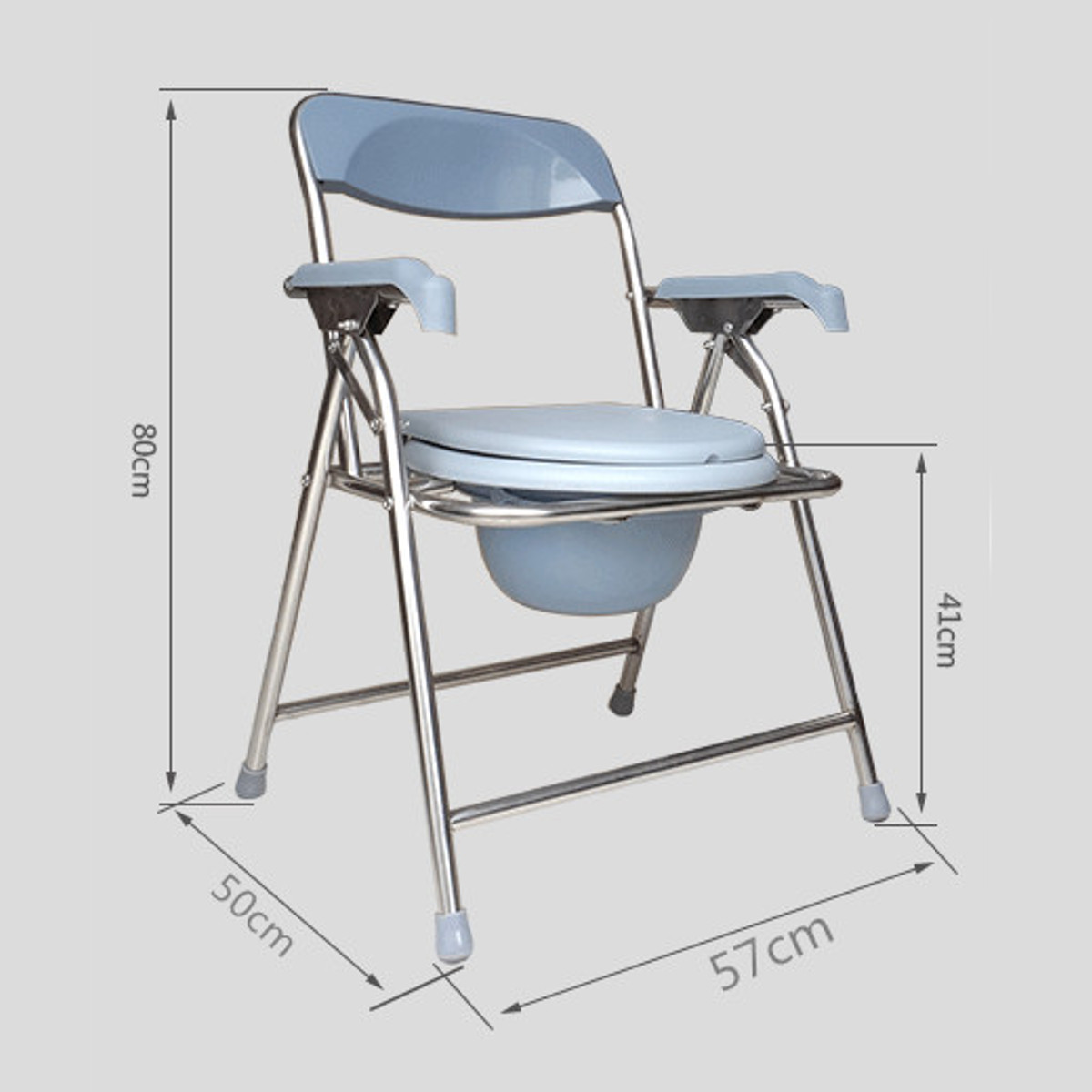 Folding Bedside Toilet Chair Shower Commode Seat Bathroom