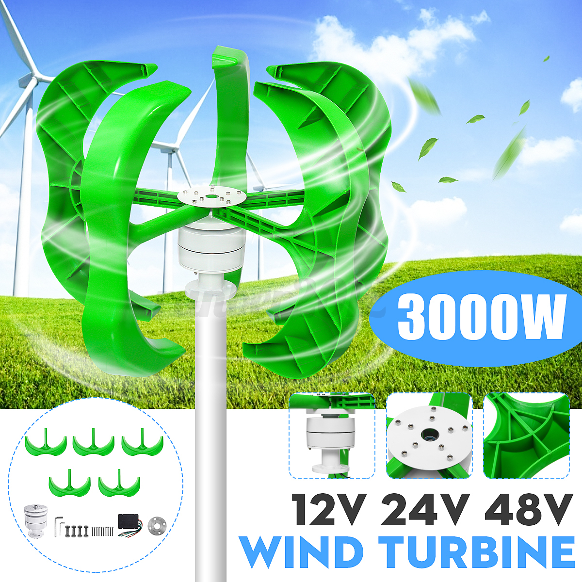 3000W-DC-12-24-48V-5-Blades-Wind-Turbines-Generator-Vertical-Charge-Controller