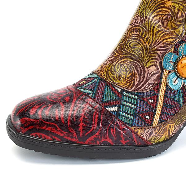 Detalles de Botas al tobillo con cremallera socofy para Mujer de Cuero Talón Mediados Zapatos de salón con empalmes hecho a mano ver título original