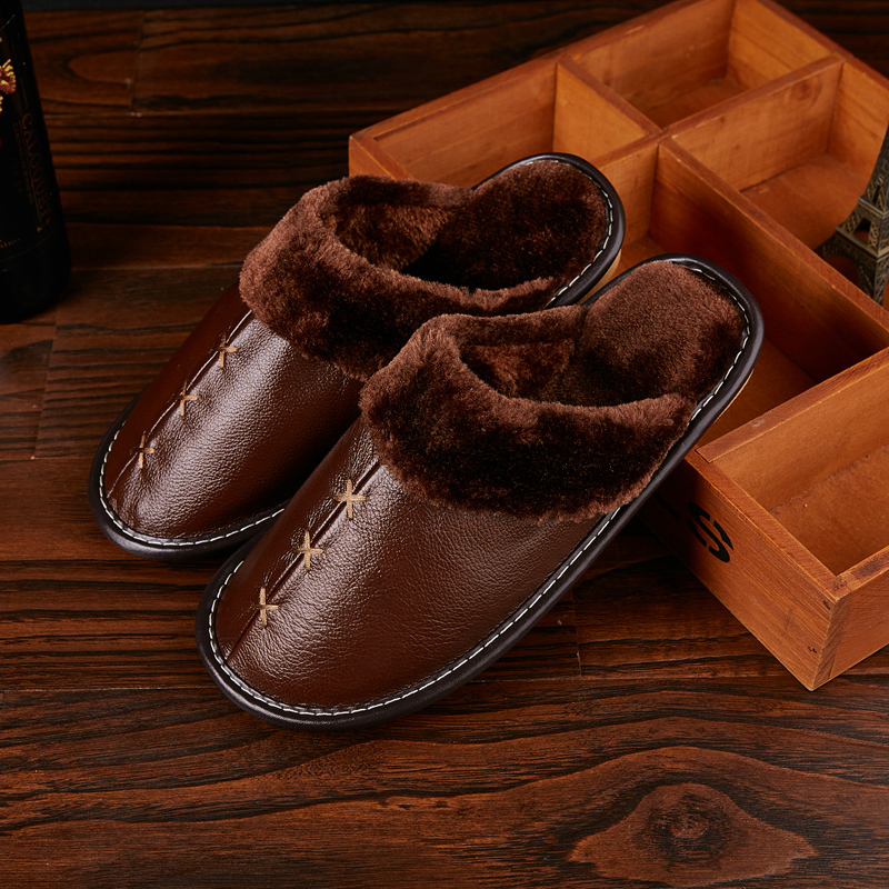Winter Men/'s Women Leather Warm Indoor Slippers Home House Mules Anti-slip Shoes