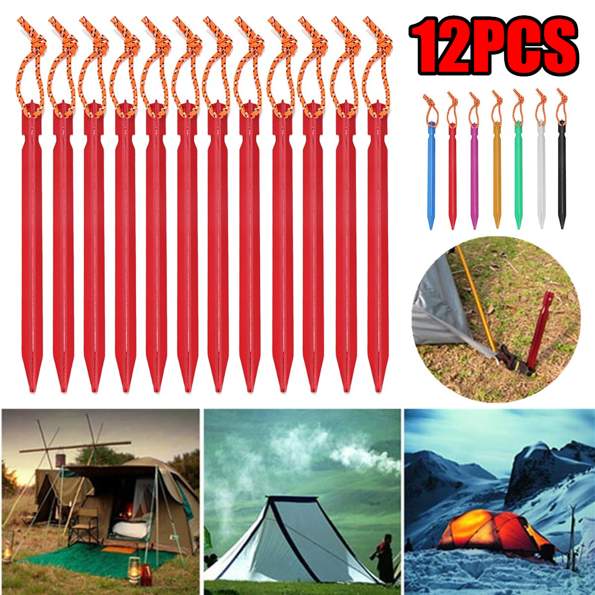 """Aluminium Alloy 7/"""" Red  Camping Trip Tent Pegs Stake Nail Sports Outdoor~"""