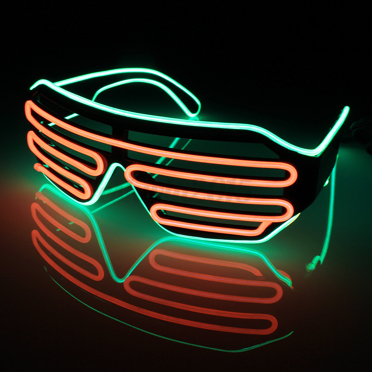 Sound Control Flash EL Wire Glasses Neon LED Light Up Shutter Glow ...