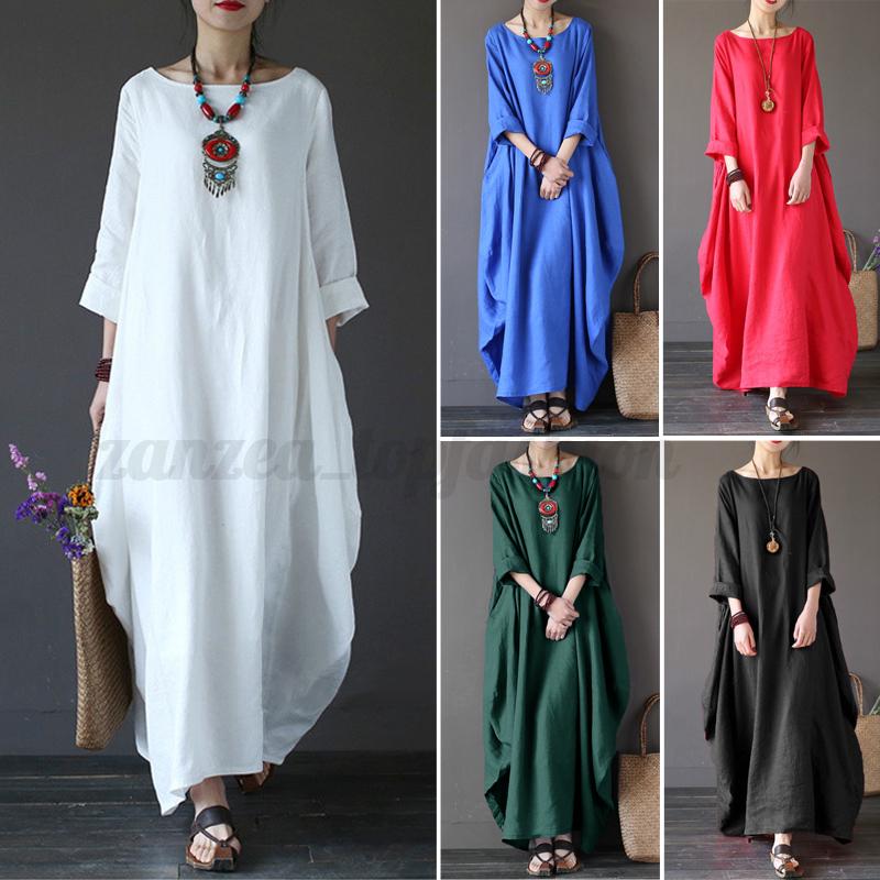 073e6e5c31 ZANZEA Women Crew Neck Loose Casual Solid Cotton Baggy Oversized Long Maxi  Dress