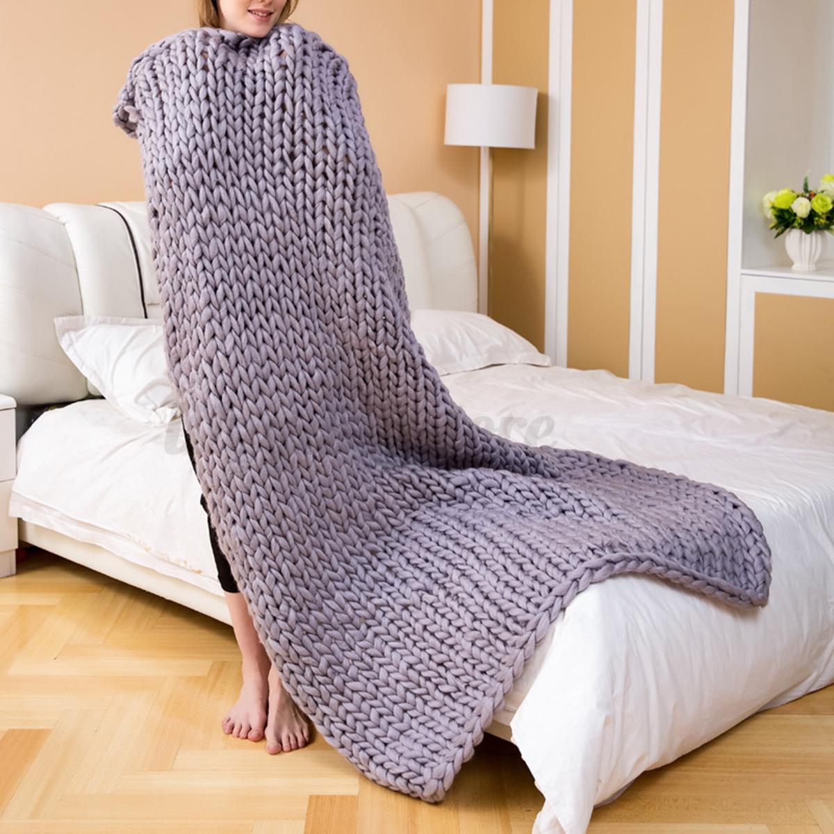 Handmade-Chunky-Knitted-Blanket-Wool-Thick-Line-Yarn-Merino-Throw-Home-6-Sizes