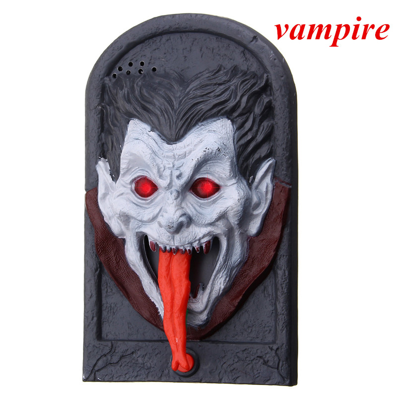 Halloween Doorbell Luminous Sound Plastic Trick Witch Skull Vampire Prop Toy