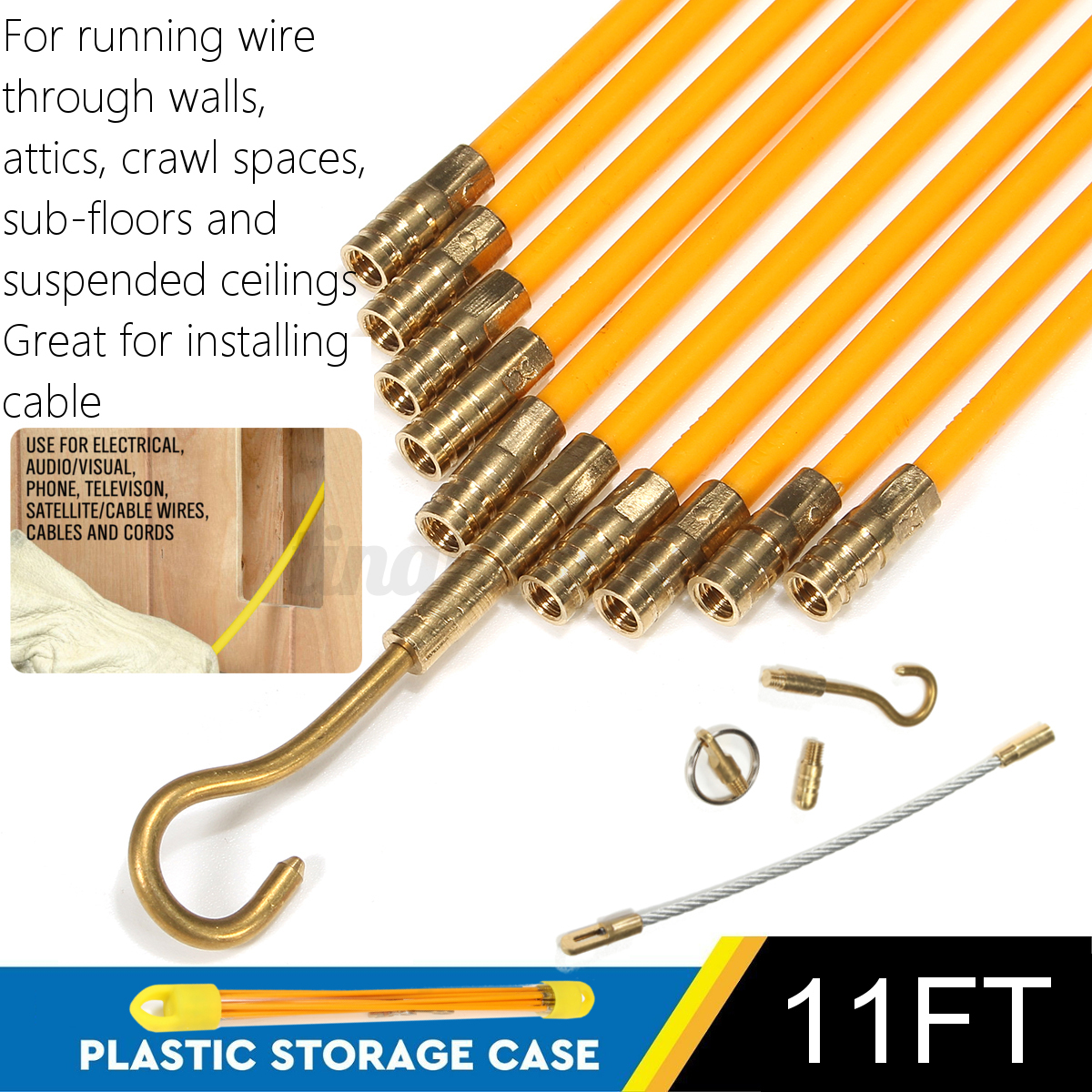 10pcs Fiberglass Cable Running Rods Kit Fish Tape Electrical Wire Wiring Through Walls And Ceilings Detail Image
