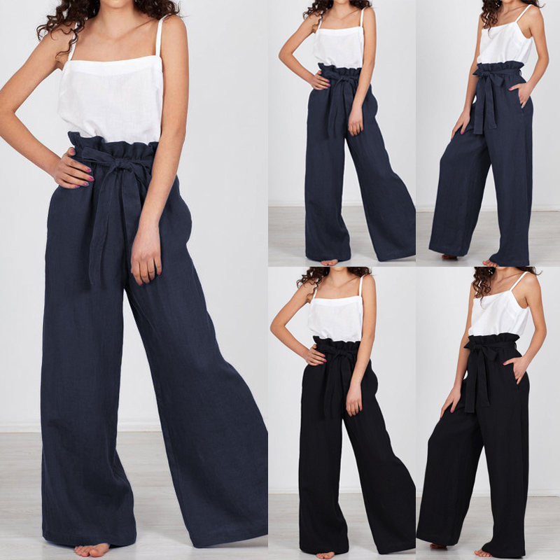Ladies Rainbow Stripes Culotte Trousers Paper Bag Wide Leg Night Out
