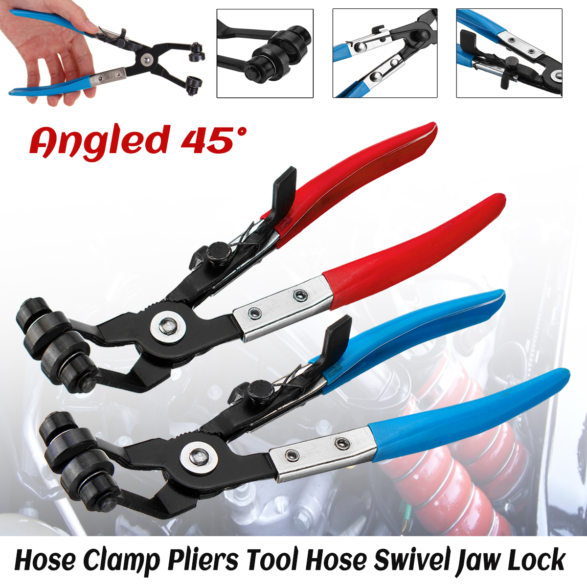 Pro Angled Swivel Jaw Locking Car Pipe Hose Clamp Pliers Fuel Coolant Clip UK