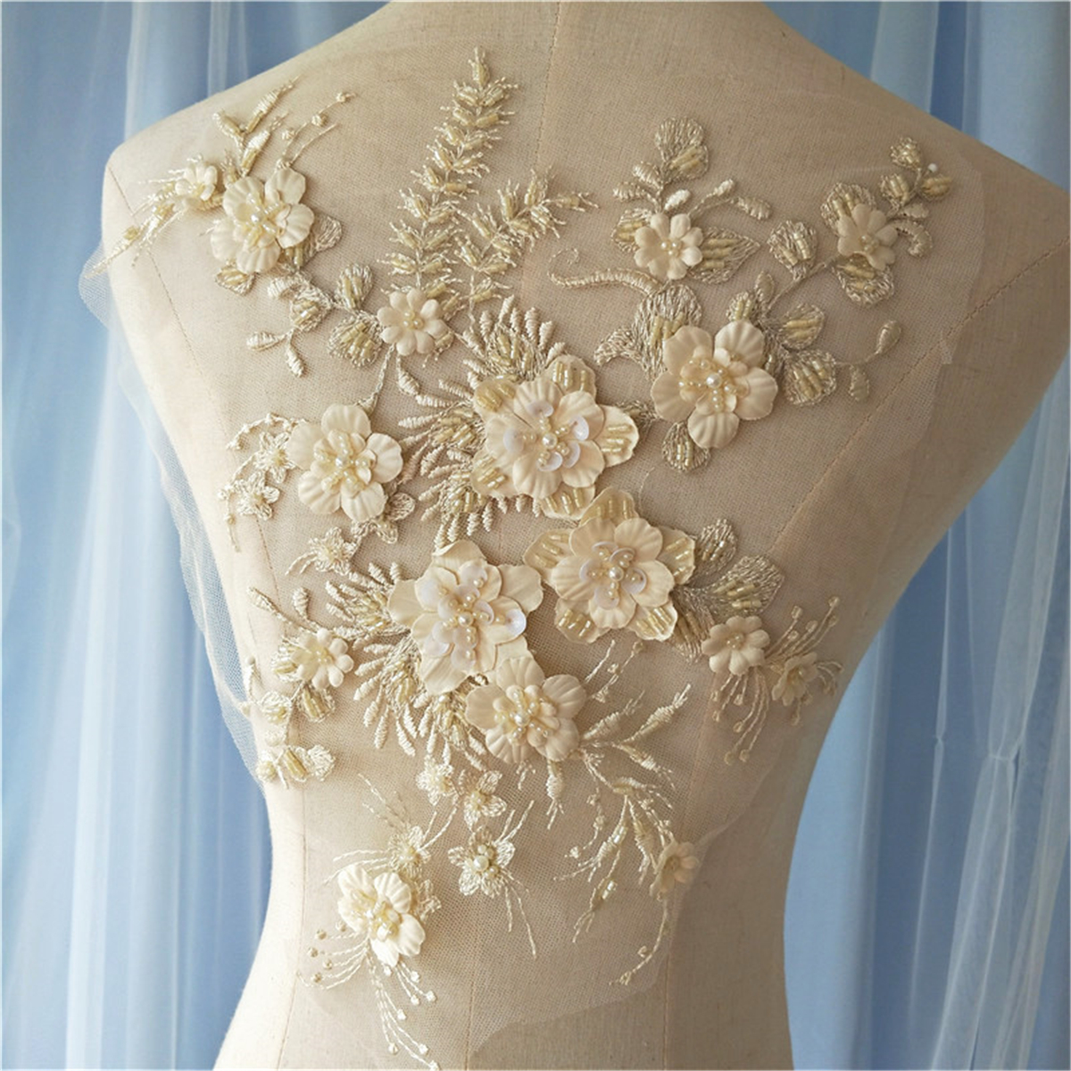 3d Flower Pearl Beaded Embroidery Lace Applique Patch Wedding Dress