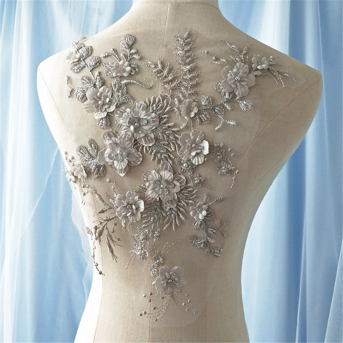 3D Flower Pearl Beaded Embroidery Lace Applique Patch Wedding Dress ...