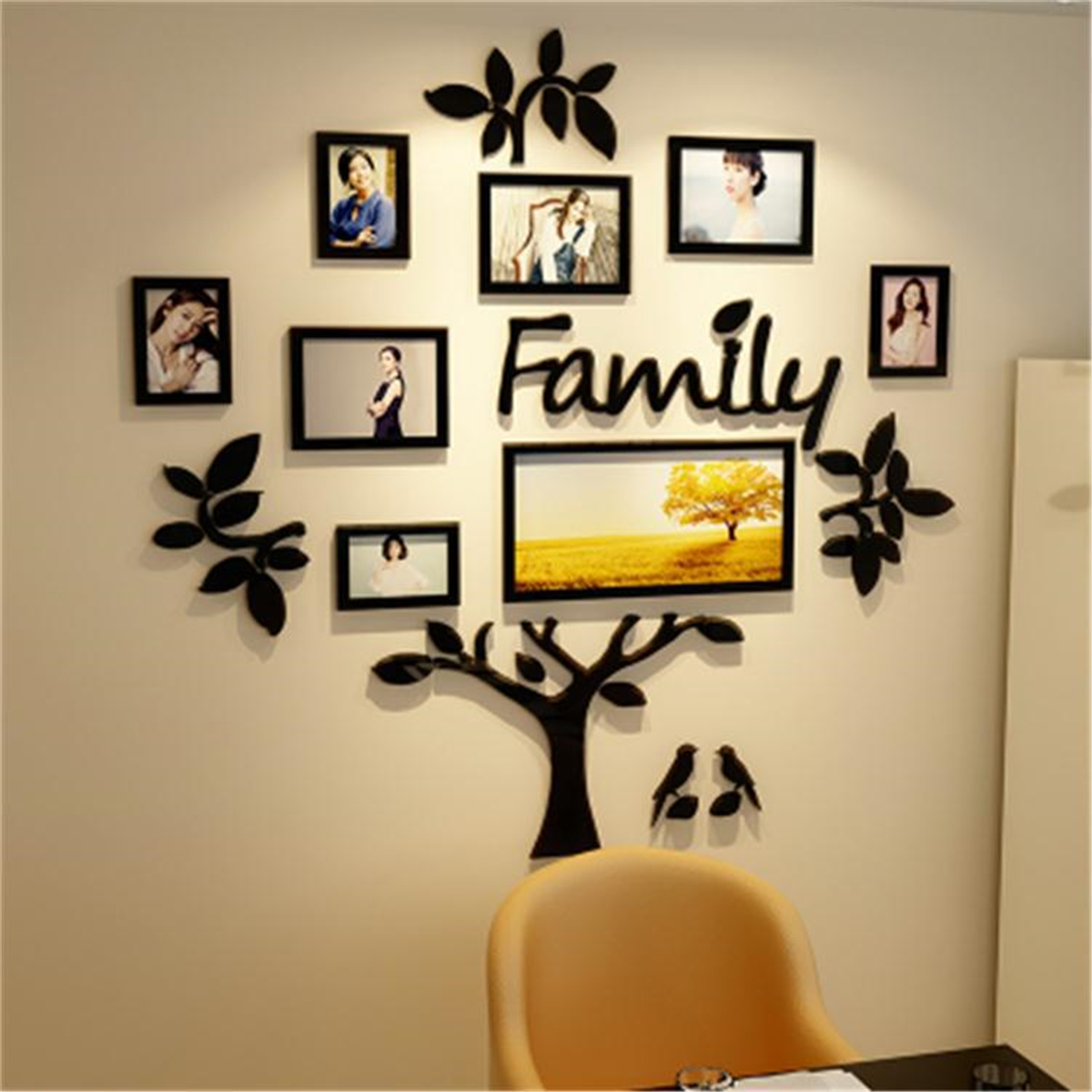 3d Family Tree Acrylic Photo Picture Collage Frame Set Black Wall