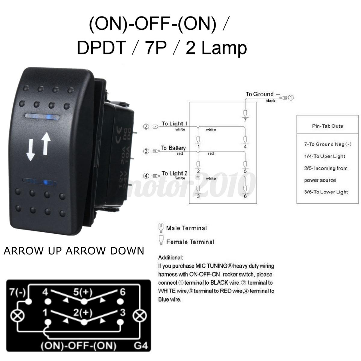 interrupteur bascule double bleu led 12v 24v spst on off. Black Bedroom Furniture Sets. Home Design Ideas