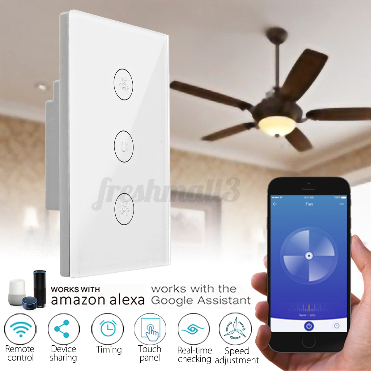 WiFi Smart Ceiling Fan Controller Wall Switch Touch Panel for Alexa/google  Home