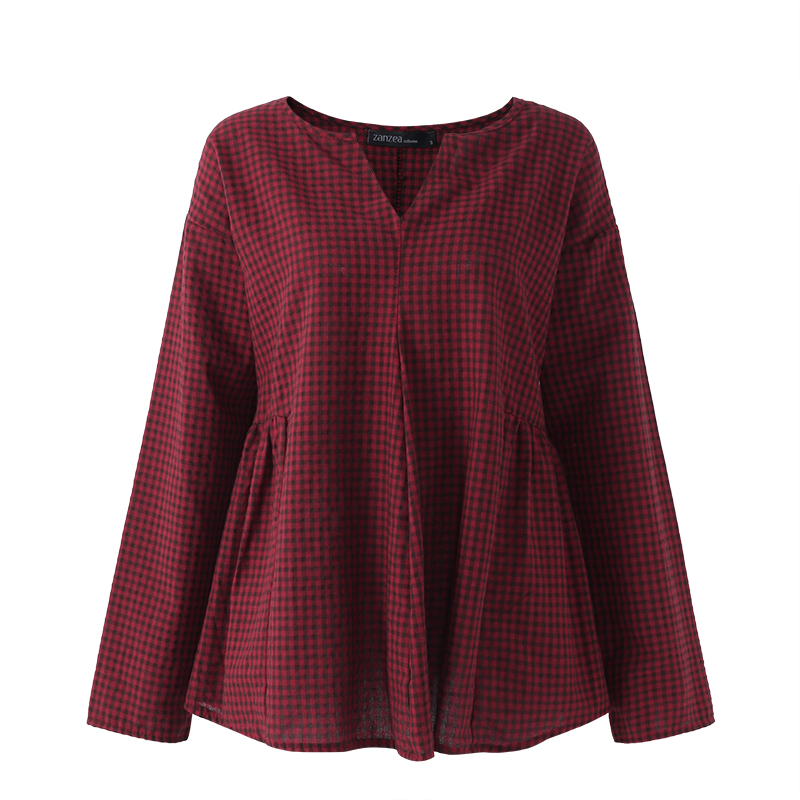 Women-Long-Sleeve-Pullover-Check-Plaid-Top-Shirt-Plus-Size-Cotton-Peasant-Blouse