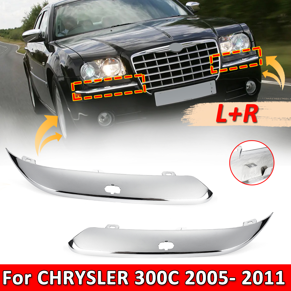 NEW Front Bumper Cover For Chrysler 300 WITH MOULDING HOLE