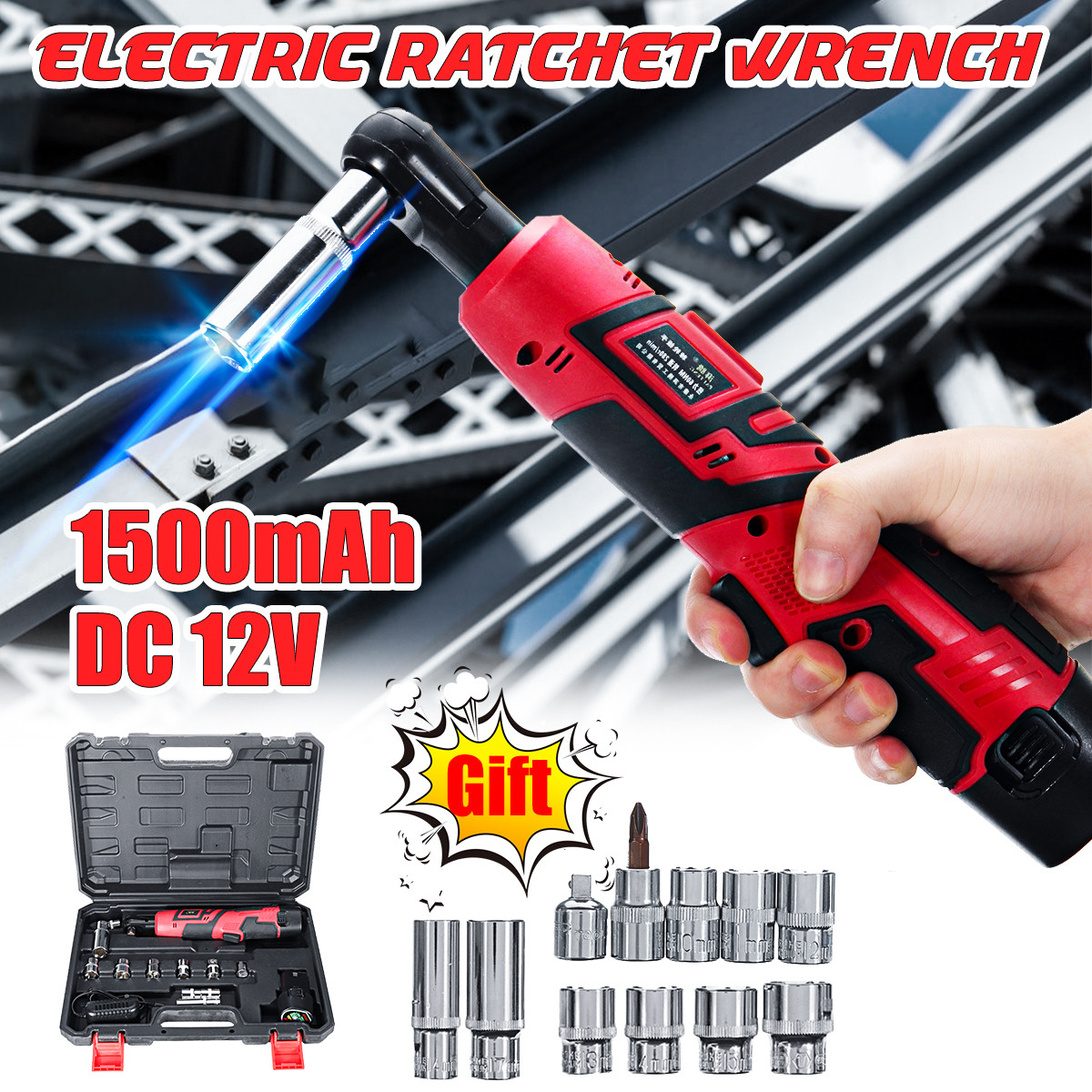12V 3//8 Inch Electric Rechargeable Cordless LED Ratchet Wrench Rotary Tools Kit